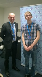 YAB member Liam O'Dell meeting with Justin Tomlinson at party Conference
