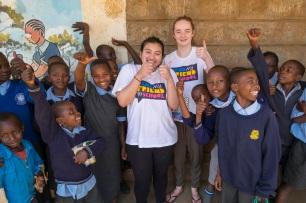 Samina and Jessica at Njathaini Primary School in the suburbs of Nairobi, Kenya.